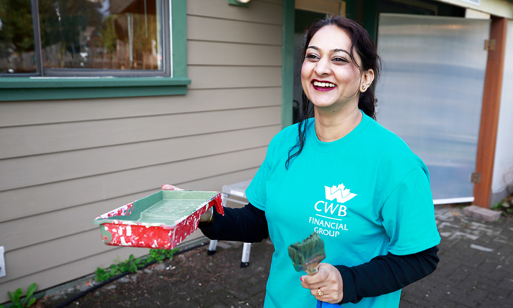 Smiling employee volunteer