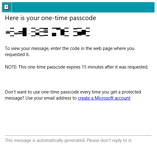 CWB Encrypted email one time passcode